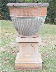 Sale 8422A - Lot 53 - A large moss and terracotta coloured planter raised on stoneware base, total height 105cm, old repairs to pot