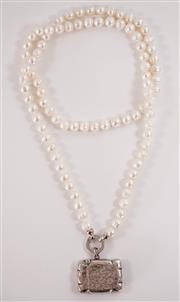 Sale 8450 - Lot 25 - Round Fresh Water Pearl Necklace, 90cm, with Sterling Silver Bolt Ring Including 925 Antique Hallmarked Vesta Box (c1920) (weight 16...