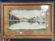 Sale 8483 - Lot 2093 - H.O. Curling, Bush Camp, Watercolour, SLR, 23.5x42.5cm