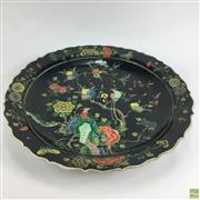 Sale 8648A - Lot 143 - Chinese Black Ground Larger Charger with Birds & Flowers Design - d: 46cm