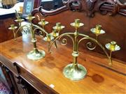 Sale 8693 - Lot 1057 - Pair of Brass Candelabra, the arched arms with five sconces