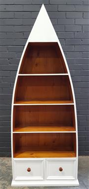 Sale 8996 - Lot 1016 - Boat Form Timber Book Shelf with 2 Drawers (h:206 x w:85 x d:33cm)