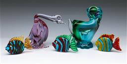 Sale 9098 - Lot 191 - Collection of Art Glass Animals incl. Dog, Duck (chips to base) & Fish (Dog - H:13cm)