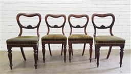 Sale 9102 - Lot 1058 - Set of four Victorian rosewood kidney back dining chairs (h87 x w44 x d52cm)