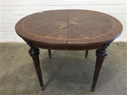 Sale 9151 - Lot 1329 - Oval dining table with timber inlay and ormolu mounts - 129 (h44 x w120 x d102cm)