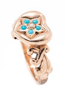 Sale 9177 - Lot 338 - A 9CT GOLD STONE SET LOVE HEART LOCKET RING; hinged top set with a cluster of turquoise beads and a seed pearl,   width 11.5mm, size...