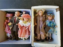 Sale 9176 - Lot 2313 - Two boxes of vintage dolls incl. small collectibles