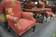 Sale 8326 - Lot 1404A - Pair of Abstract Fabric Armchairs