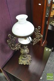 Sale 8328 - Lot 1078 - Pair Of Decorative Brass Lamps With Milk Glass Shades