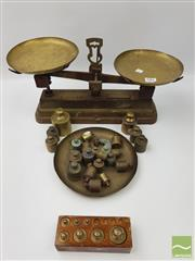 Sale 8439F - Lot 1861 - Old Kitchen Scales and Lot of Brass Weights