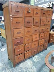 Sale 8566 - Lot 1001 - Large Industrial 30 Drawer Storage Unit (175.5 x 50 x 171)