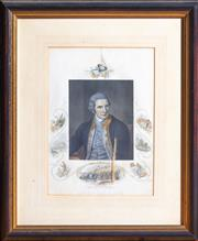 Sale 8625A - Lot 27 - A hand coloured engraving of Captain James Cook, in a timber frame, frame size 37 x 30cm.