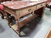 Sale 8774 - Lot 1011 - Late Victorian Painted Washstand, in green washed finish, with brown marble top (restored), fitted with two drawers, on turned legs...