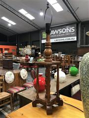 Sale 8889 - Lot 1335 - Pair of Turned Timber Table Lamps