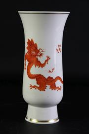 Sale 8948 - Lot 54 - A Possibly Meissen Dragon Themed Vase (Chip to Base H 25cm)