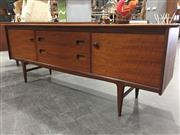 Sale 8967 - Lot 1019 - Quality Younger Teak Sideboard with Two Doors and Three Drawers having Concealed Handles (H:76 x W:209 x D:49cm)
