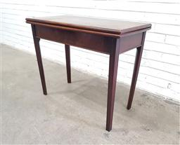 Sale 9126 - Lot 1056 - George III Mahogany Tea Table, the rectangular folding top raised on square channelled legs (h:75 w:90 d:45cm)