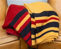 Sale 9160H - Lot 139 - Two large horse blankets in red, yellow and black, by Robin Mariton