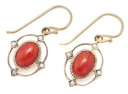 Sale 9209J - Lot 370 - A PAIR OF 9CT GOLD EDWARDIAN STYLE CORAL AND PEARL EARRINGS; each centring an oval cut coral to surround set with 4 seed pearls, siz...