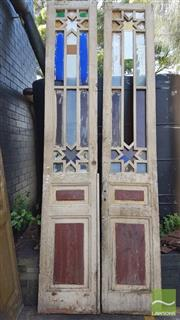 Sale 8326 - Lot 1392 - Pair of Timber Over Sized Doors with Glass Inserts