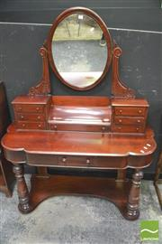 Sale 8392 - Lot 1009 - Mahogany Oval Mirrored Back Dressing Table