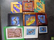 Sale 8557 - Lot 2092 - Collection of Small Framed Aboriginal Style Works