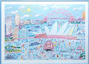Sale 8593A - Lot 138 - A framed Ken Done print, 'Sydney Harbour', total size 57 x 80cm, together with a framed Erté poster