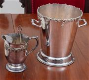 Sale 8908H - Lot 34 - Three silver plated drinking wares incl a champagne bucket and an iced water jug and tongs.