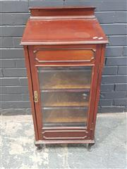 Sale 9014 - Lot 1046 - Edwardian Mahogany Music Cabinet, with back, glass panel door & lined shelves (H: 89 x W: 47 x D: 40cm)