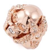 Sale 9054 - Lot 338 - AN ALEXANDER MCQUEEN SKULL AND STARFISH RING; crystal set skull and starfish in pink gold tone metal, size L1/2, top 21 x 23mm, in p...