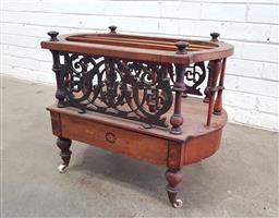 Sale 9126 - Lot 1085 - Victorian Inlaid Walnut Canterbury, with turned supports & pierced side panels, above a frieze drawer & turned feet (h:63 w:64 d:40cm)