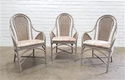 Sale 9151 - Lot 1391 - Set of 3 cane and wicker armchairs (h:95 x w:57 x d:50cm)