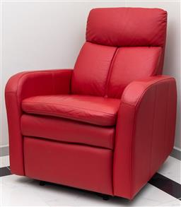 Sale 9162H - Lot 64 - A red leathed recliner armchair, Height of back 96cm x Width 82cm