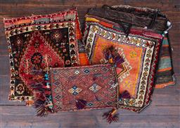 Sale 9160H - Lot 140 - Two large saddle bags, together with a smaller carpet pouch with tassles