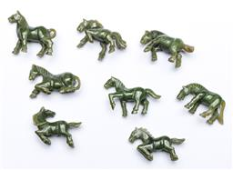 Sale 9164 - Lot 121 - A collection of 8 framed greenstone horses (27cm x 13cm)