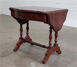 Sale 9196 - Lot 1016 - Possibly Louis-Philippe Mahogany Sofa Table, the serpentine top with drop-leaves, fitted with two frieze drawers (locked), on turned...