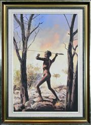 Sale 8325A - Lot 81 - J. Hansen (active 1980s) - Tribal Warrior, 1984 75 x 50cm