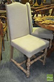 Sale 8305 - Lot 1018 - Set of Four Upholstered Dining Chairs with Carved Timber Legs