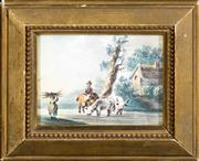 Sale 8342A - Lot 311 - British School - Village Scene with Peasant and Rider, c.1790 7 x 9cm