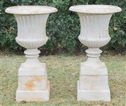 Sale 8422A - Lot 57 - A large and impressive pair of classic form white painted cast iron urns (2 pieces), total height 101cm