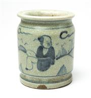 Sale 8575J - Lot 156 - A Chinese cylindrical form brush pot, decorated with male traditional figures in a landscape, height 13cm