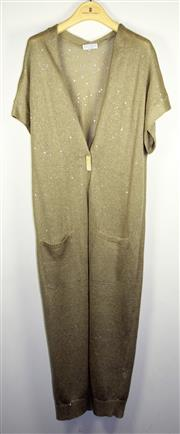 Sale 8460F - Lot 89 - A Brunello Cucinelli short sleeve sequined linen and silk blend cardigan with single button, size L