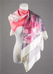 Sale 8499A - Lot 19 - A Jacqmar, Paris, silk scarf, in pink, white, black & grey floral print, with hand-rolled edges (good condition); together with a go...