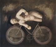 Sale 8549 - Lot 576 - Helene Grove (1946 - ) - Untitled, 2003 (Figure and Bicycle) 111 x 130.5cm