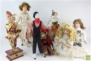 Sale 8524 - Lot 81 - Doll Collection inc Mime and Jester