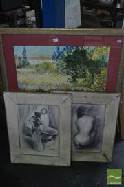 Sale 8537 - Lot 2079 - Group of 3 Decorative Prints incl. Van Gogh, 99 x 81cm and 2 Decorative Nude Prints by Unknown Artist