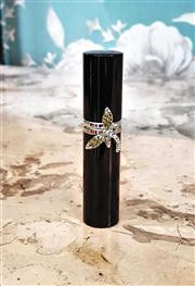 Sale 8577 - Lot 116 - A black perfume atomiser featuring a peridot green and borealis Swarovski crystal dragonfly, H 9cm, Condition: As New