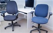 Sale 8593A - Lot 139 - Two laminate desks with two office chairs (Please see sale comments for collection details)