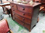 Sale 8598 - Lot 1040 - Late Georgian Mahogany Bow Front Chest of Five Drawers, with bracket feet