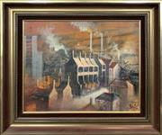 Sale 8682 - Lot 2060 - Artist Unknown - Sydney Smoke , oil on canvas board, 39 x 49cm, signed lower right -
